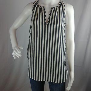 T17 Jcrew Carousel Button Vertical Stripe Silk Tan